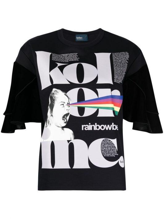 Kolor T-Shirt mit grafischem Print - Blau