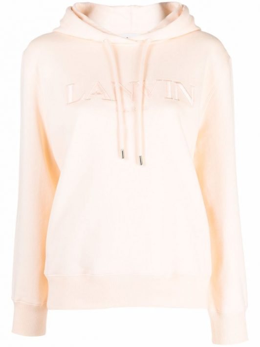 LANVIN logo-embroidered cotton hoodie - Rosa