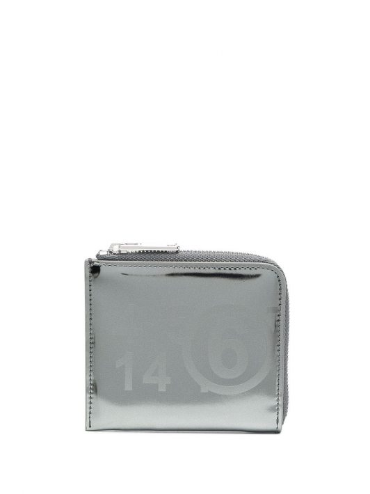MM6 Maison Margiela Portemonnaie mit Logo-Muster - Metallisch
