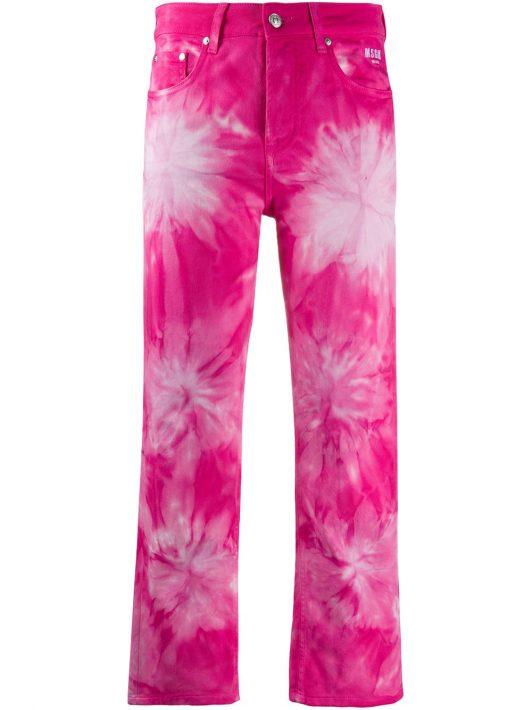 MSGM Cropped-Jeans mit Print - Rosa