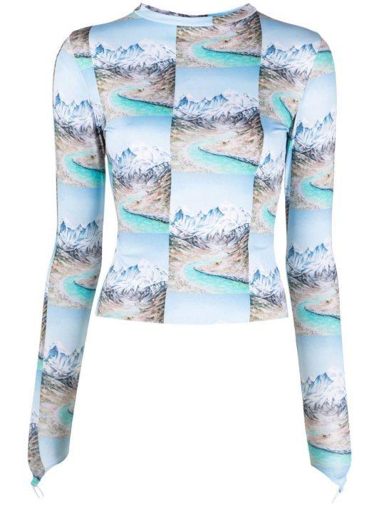 Maisie Wilen T-Shirt mit Gebirge-Print - Blau