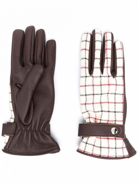 Maison Margiela Tattersall-check panelled gloves - Braun