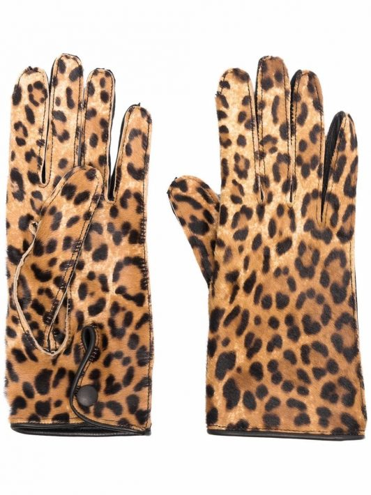 Maison Margiela leopard-print gloves - Braun