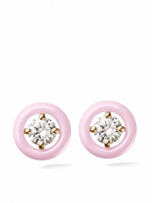 Melissa Kaye 18kt rose gold Sylive pastel pink and diamond stud earrings - Rosa