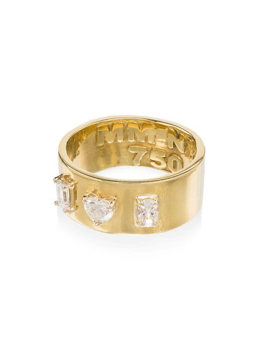 Mindi Mond 18kt Gelbgoldring mit Diamanten - YELLOW GOLD