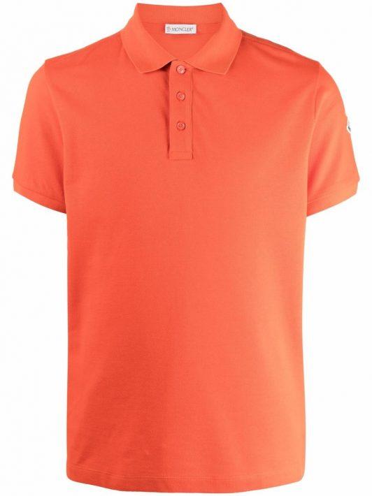 Moncler logo patch polo shirt - Orange