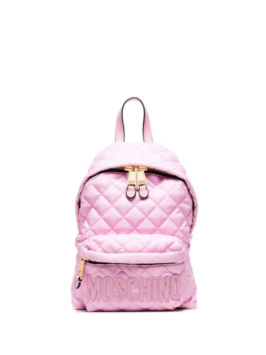 Moschino diamond quilted logo backpack - Rosa