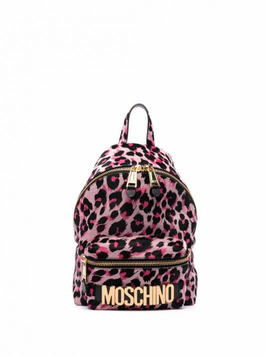 Moschino leopard-print logo-plaque backpack - Rosa