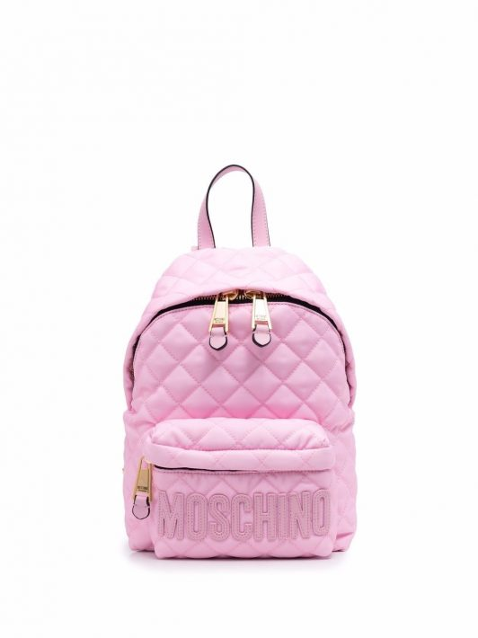 Moschino logo-patch quilted backpack - Rosa