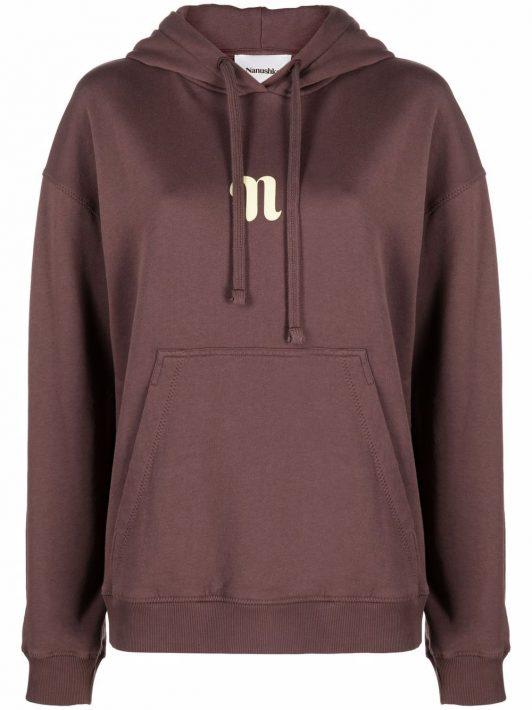 Nanushka logo-print long-sleeved hoodie - Braun