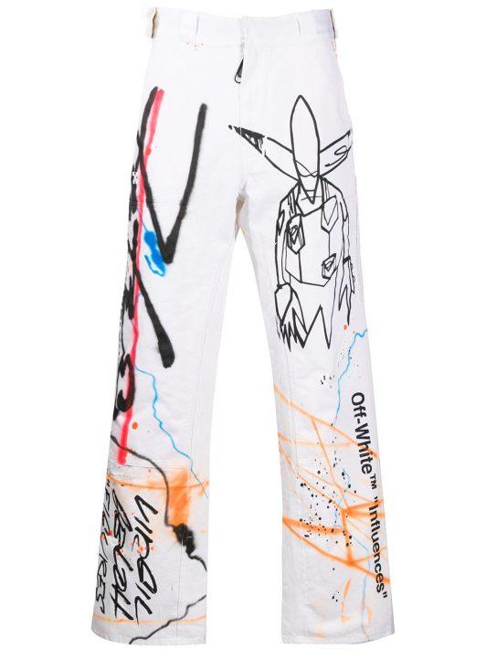 """Off-White Hose mit """"Futura Alien""""-Print - Weiß"""