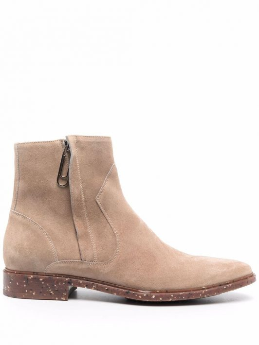 Off-White Paperclip suede ankle boots - Braun