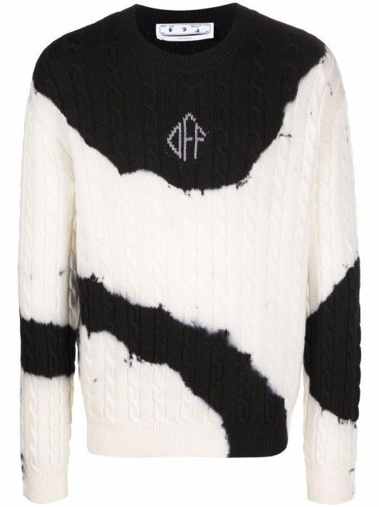 Off-White Pullover mit Batikmuster - Weiß