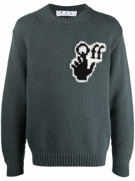 Off-White Pullover mit Intarsien-Logo - Grün