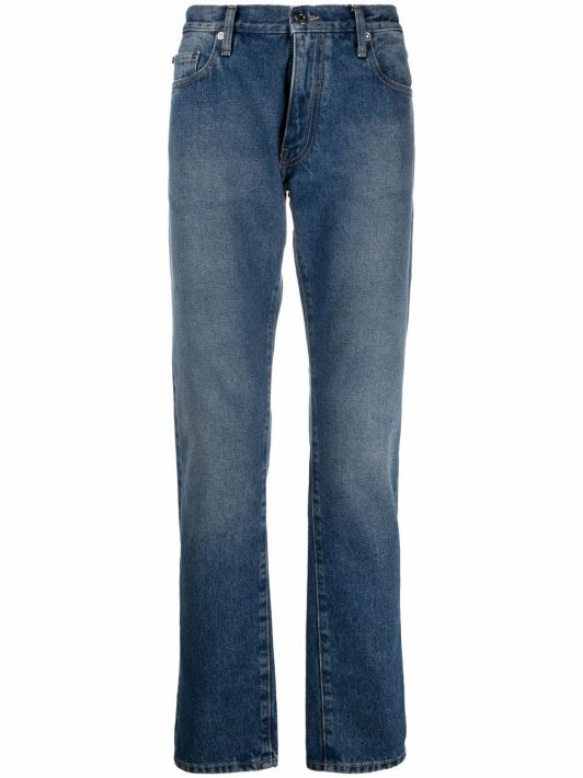 Off-White Schmale Tapered-Jeans - Blau