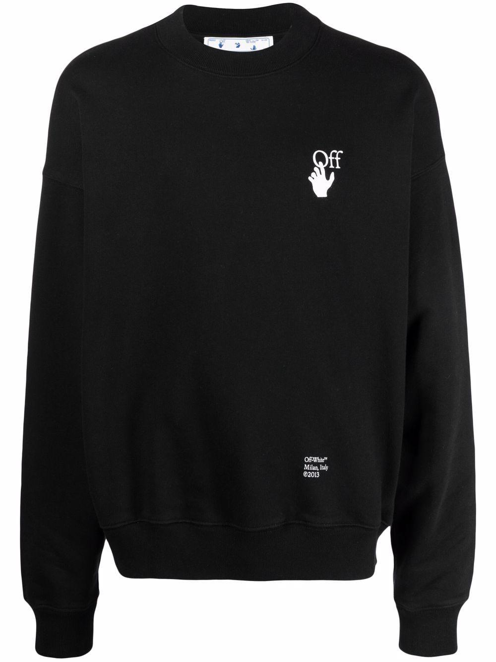 Off-White Sweatshirt mit Logo-Stickerei - Schwarz