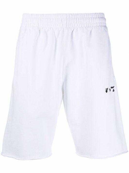 Off-White logo-print track shorts - Weiß