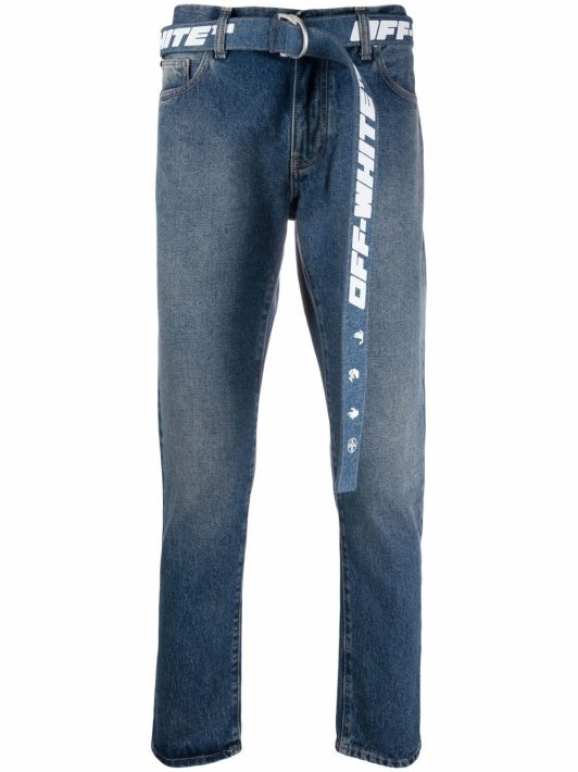 Off-White tapered belted jeans - Blau