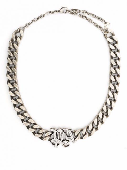 Palm Angels Halskette mit Strass-Logo - Silber