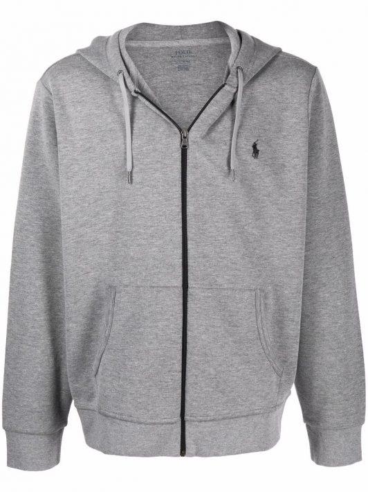 Polo Ralph Lauren logo-embroidered fleece hoodie - Grau