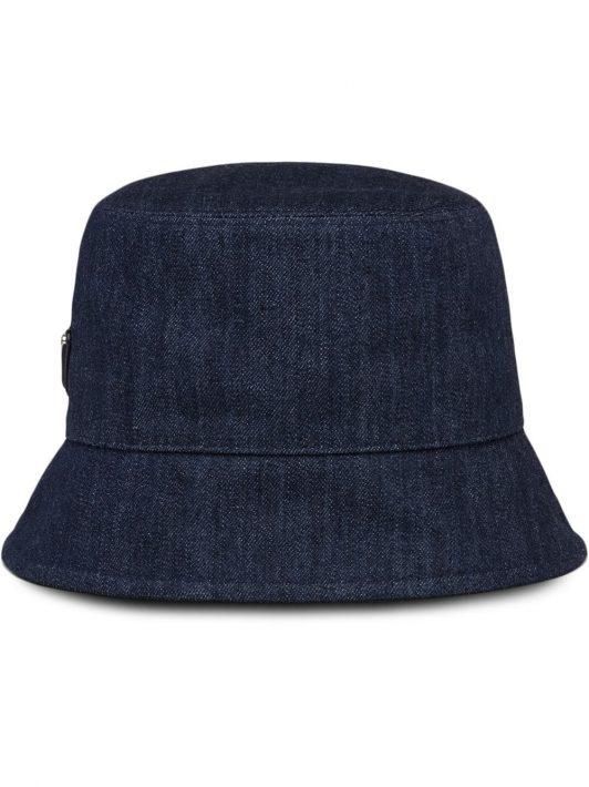 Prada Jeans-Fischerhut mit Logo-Patch - Blau