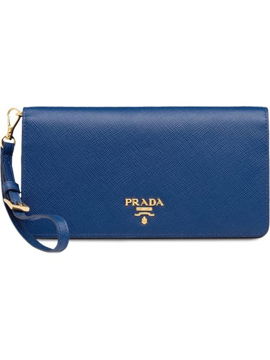 Prada Portemonnaie mit Logo - Blau