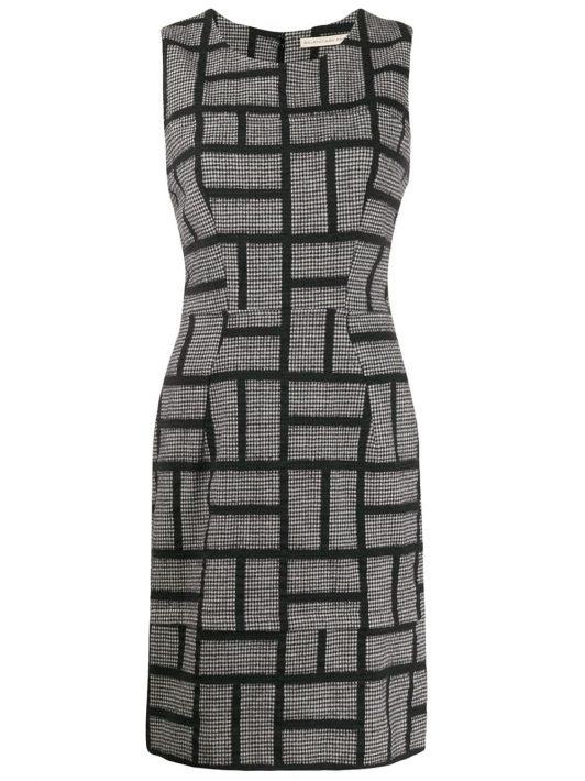 Prada Pre-Owned 1990s Kleid mit Hahnentrittmuster - Schwarz