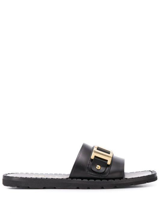 Prada Sandalen mit goldfarbenen Beschlägen - Schwarz