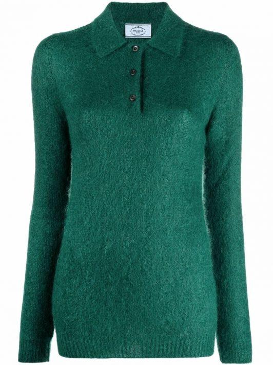 Prada knitted mohair polo shirt - Grün