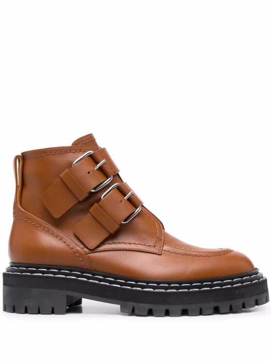 Proenza Schouler buckled leather boots - Braun