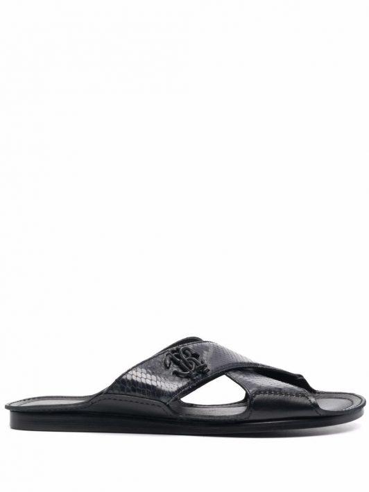 Roberto Cavalli embossed logo sandals - Grau
