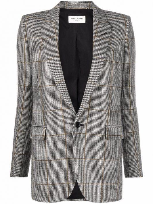 Saint Laurent plaid single-breasted blazer - Grau