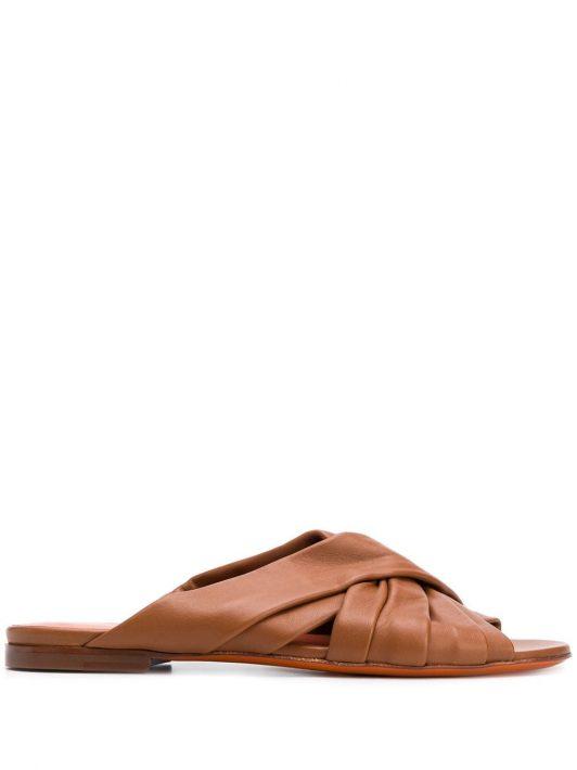 Santoni Sandalen mit überkreuzten Riemen - Braun