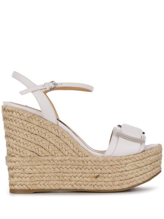 Sergio Rossi Wedge-Sandalen aus Bast - Weiß