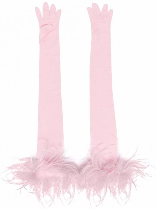 Styland feather-detail fingerless gloves - Rosa