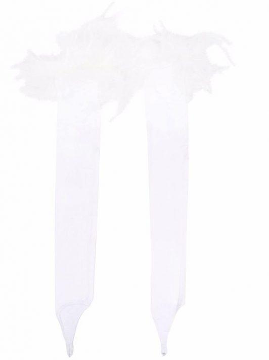 Styland feather-detail fingerless gloves - Weiß