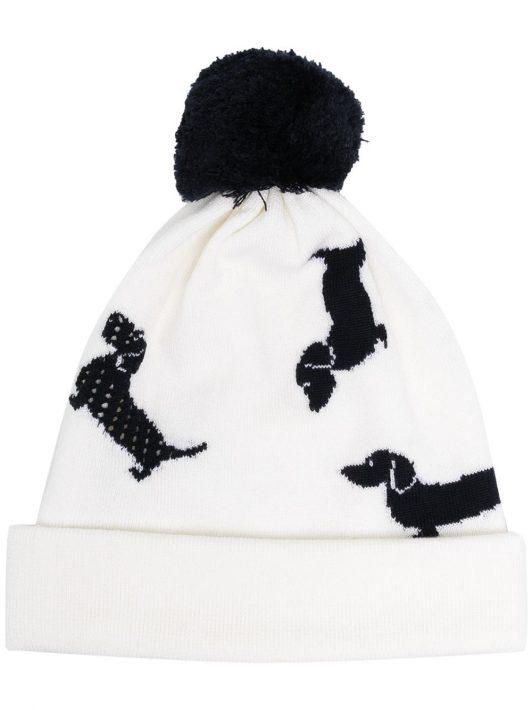 Thom Browne Bommelmütze mit Hunden - Weiß