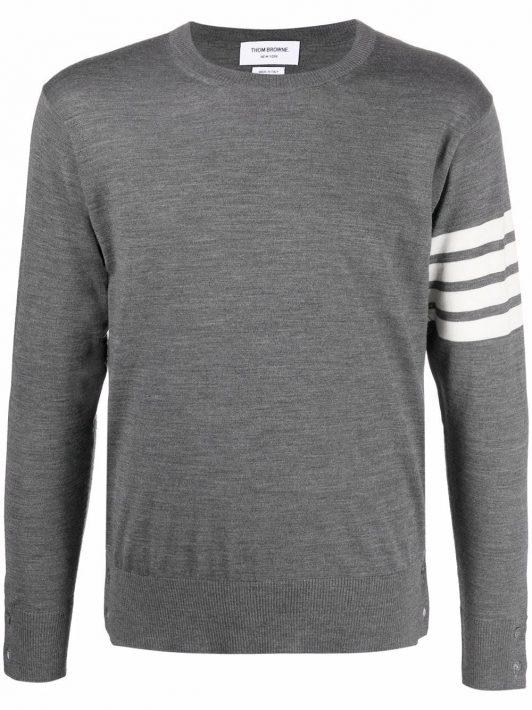 Thom Browne Gestrickter Pullover mit Streifen - Grau