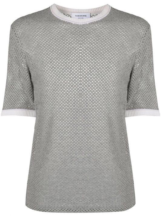 Thom Browne Gestricktes T-Shirt aus Kaschmir - Grau