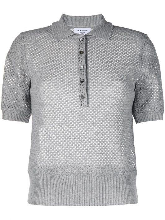 Thom Browne Poloshirt aus Kaschmir - Grau