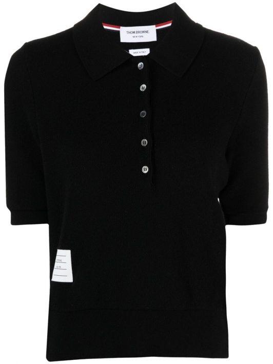 Thom Browne Poloshirt mit Logo-Patch - Schwarz