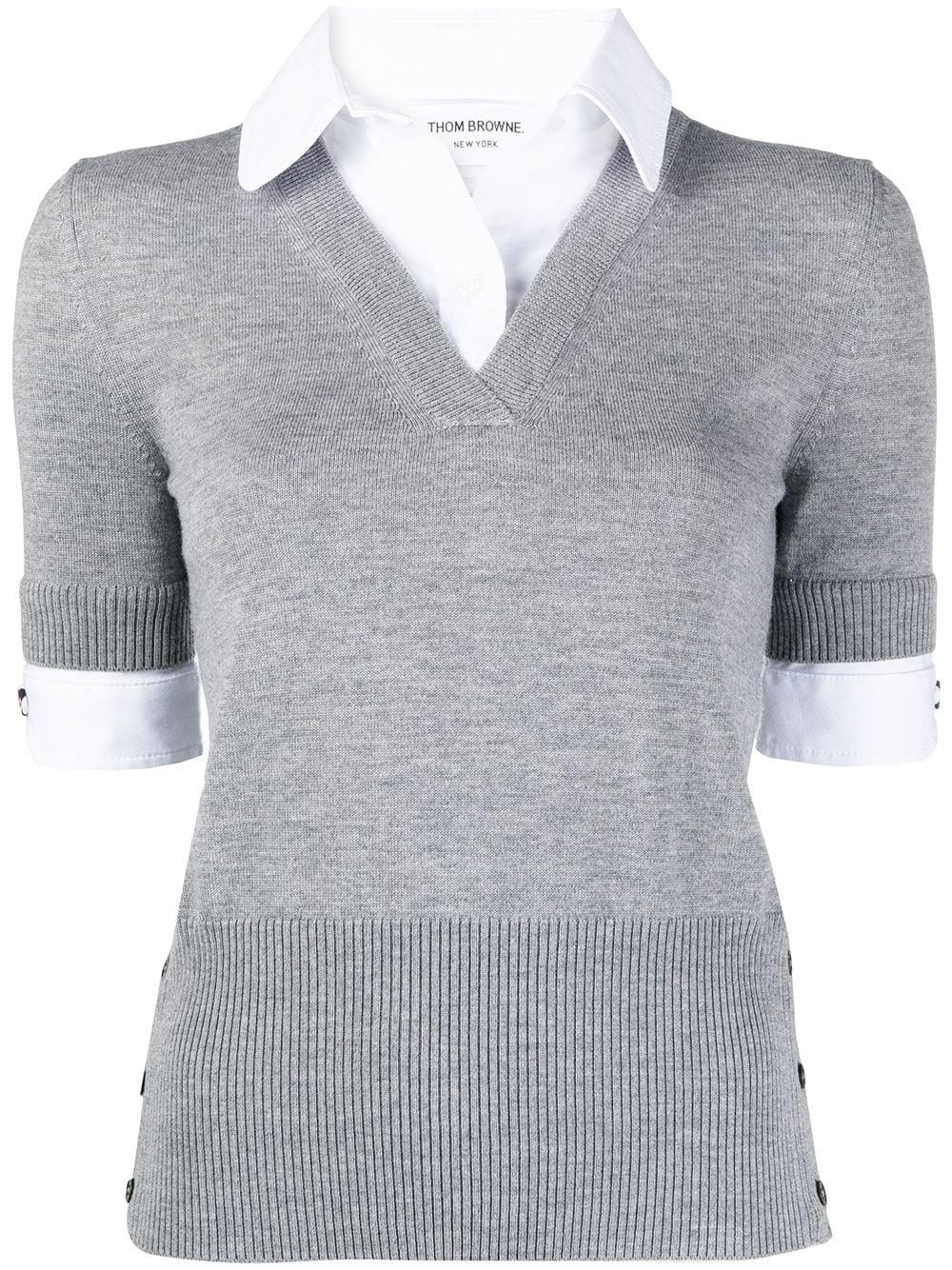 Thom Browne Pullover mit V-Ausschnitt - Grau