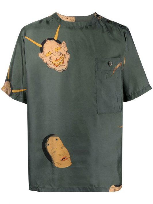 Uma Wang T-Shirt mit Malerei-Print - Grün