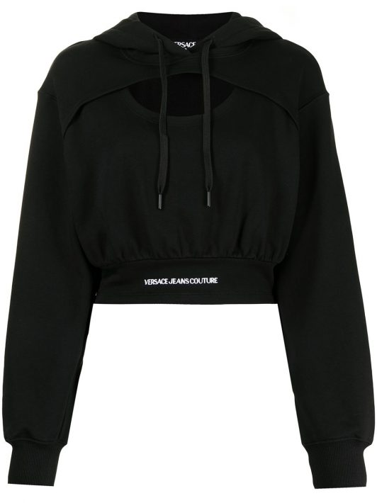Versace Jeans Couture logo-waistband cut-out hoodie - Schwarz