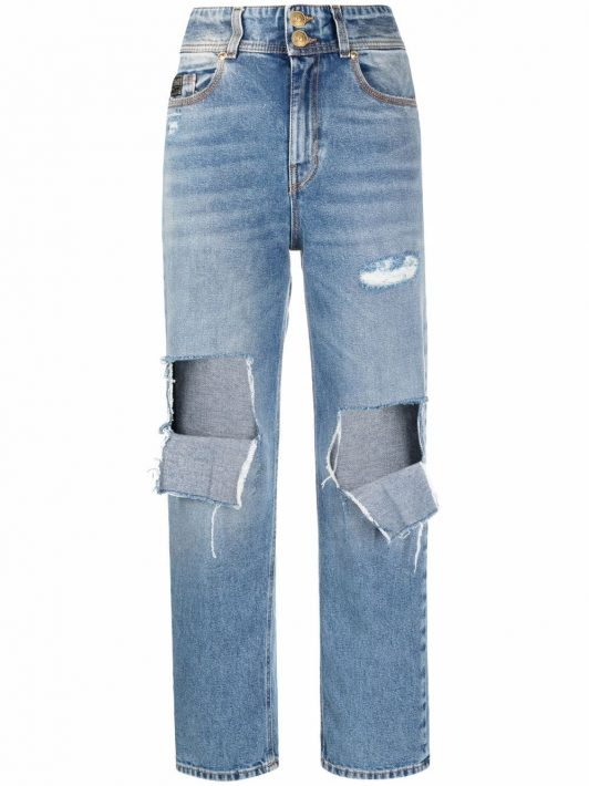 Versace Jeans Couture ripped-detail jeans - Blau
