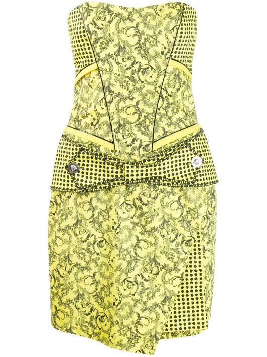 Versace Pre-Owned Kleid mit Barock-Print - Gelb