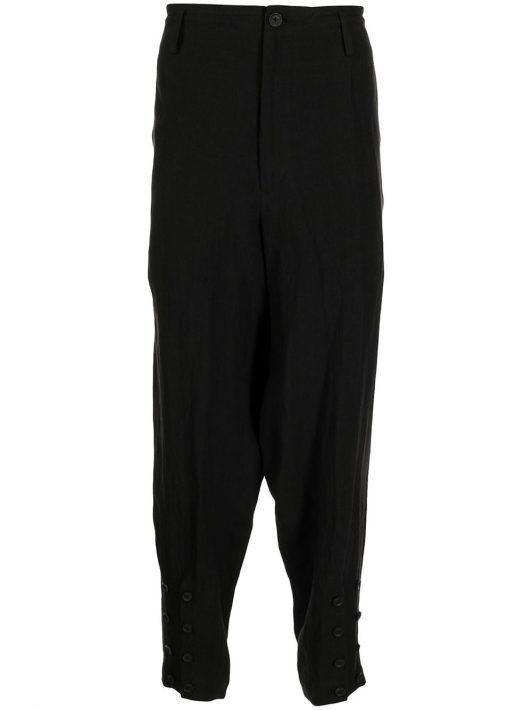 Yohji Yamamoto button-detail drop-crotch trousers - Schwarz