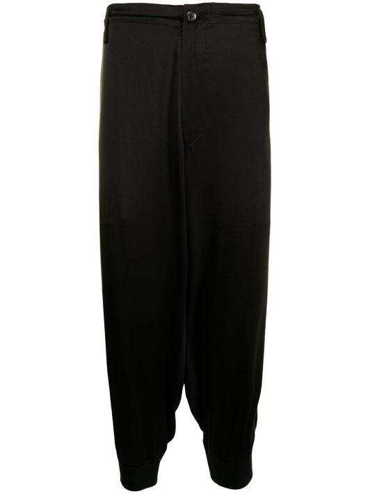 Yohji Yamamoto embroidered silk tapered trousers - Schwarz