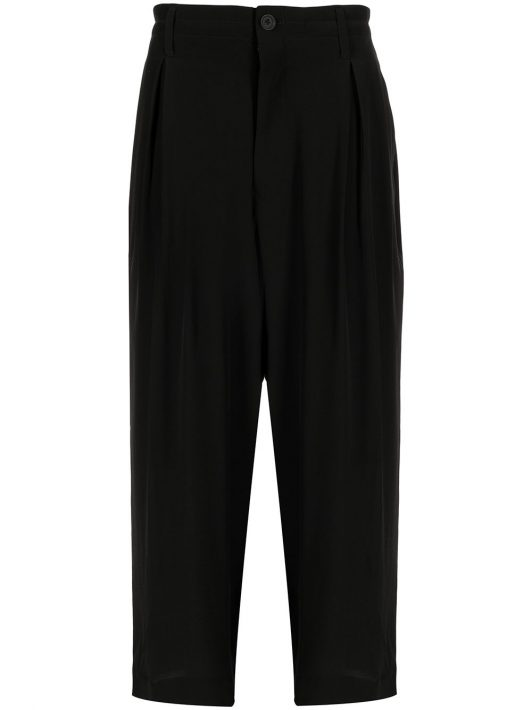Yohji Yamamoto high-waisted straight leg trousers - Schwarz