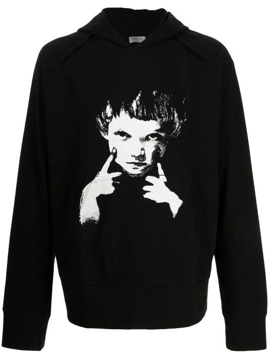 Yohji Yamamoto portrait print hoodie - Schwarz